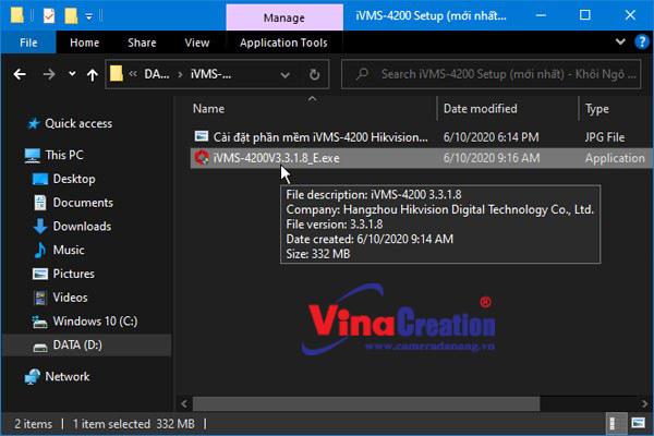 Mở file cài đặt phần mềm iVMS-4200.exe
